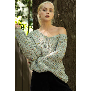 Confetti Chenille Sweater with Low V Neckline