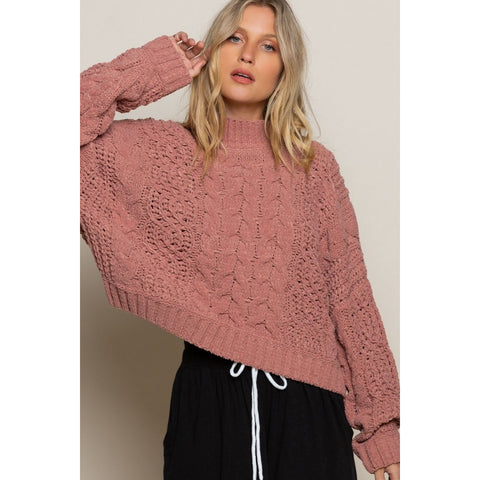 Cropped Chenille Sweater Canyon Clay