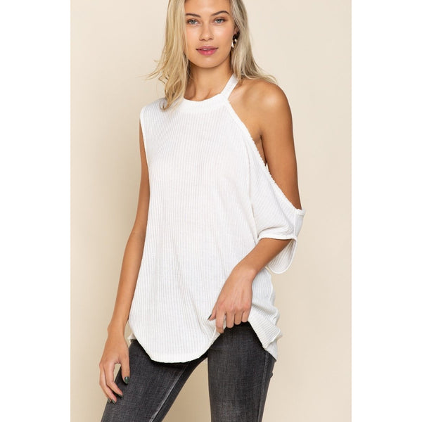 Asymmetrical Top in Ivory White