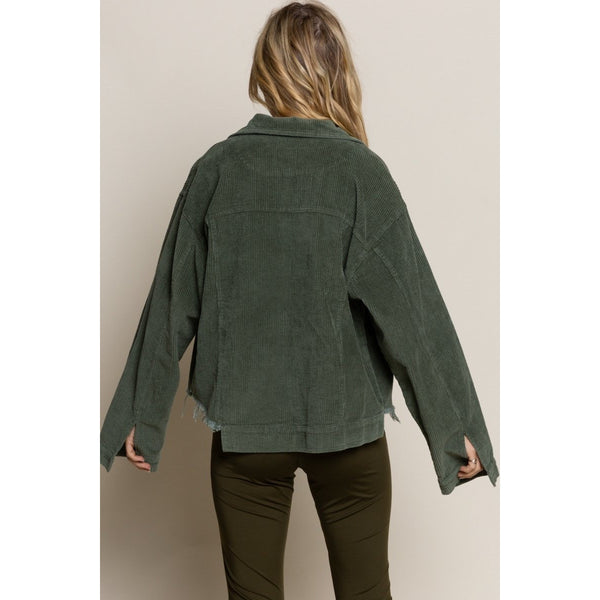 Vintage Styled Corduroy Jacket in Army Green
