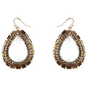 Taupe and Gold Glass Beaded Earrings
