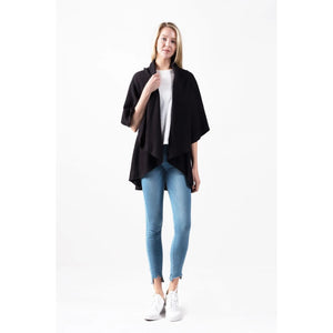 4 in 1 Knit Shawl Vest Black