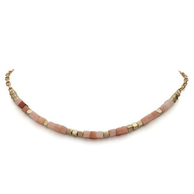 Gold Necklace with Pale Coral & Pink Beading