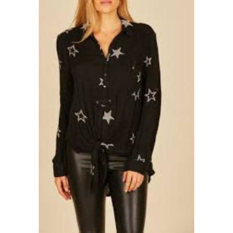 Washed Black Starry Button Down Shirt