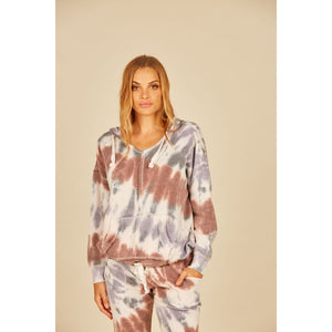 Earth Tone Tie Dye Fleece Burnout Hoodie