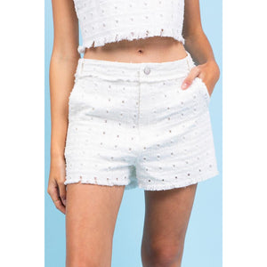 High Waisted Distressed Trim Shorts in White