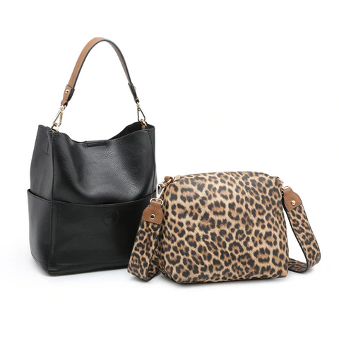 Abby 2-in-1 Bucket Bag with Animal Print Guitar Strap