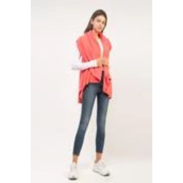 4 in 1 Knit Shawl Vest Coral