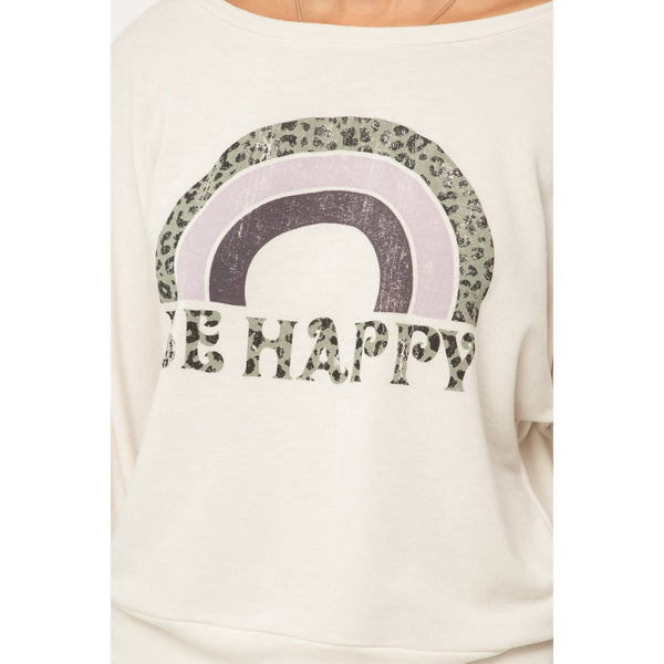 Be Happy Vintage Pullover in Oatmeal