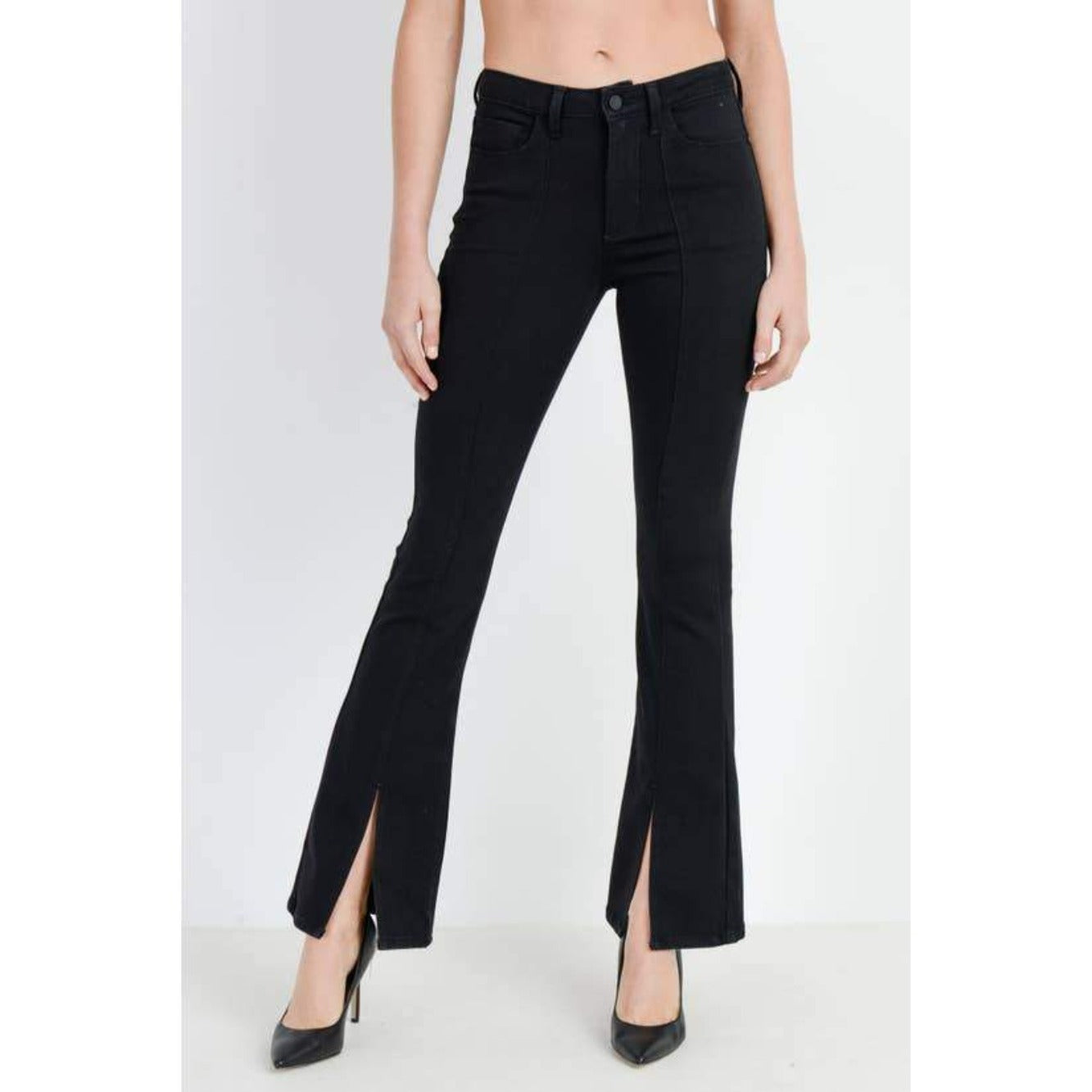 Black Flare Denim Pant with Front Seam and Front Slit