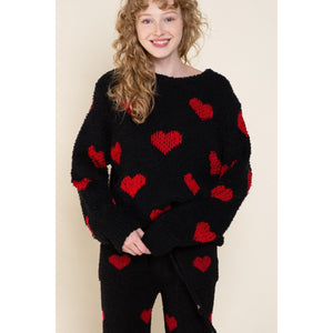 Black and Red Heart Print Sweater