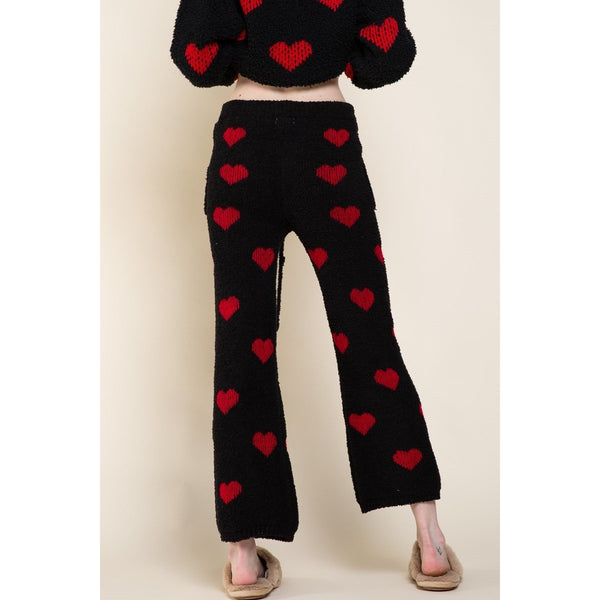 Black and Red Heart Print Chenille Pants