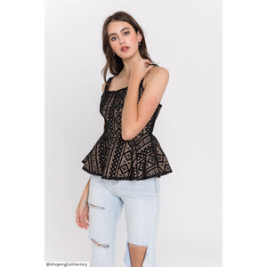 Black Lacey Peplum Top