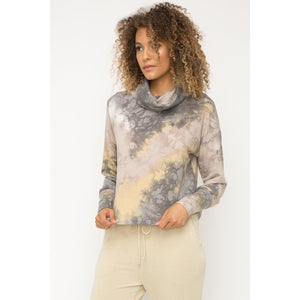 Tie Dye Wide Turtleneck Terry Pullover