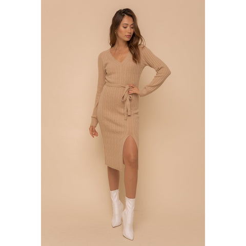 Bodycon Midi Sweater Dress In Camel