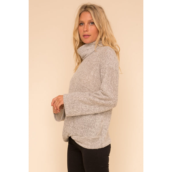 Brushed Rib Twist Hem Turtle Neck Top