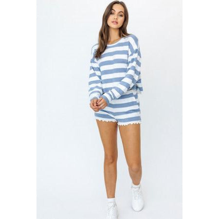 Cabana Stripe Pullover Top in Blue and White