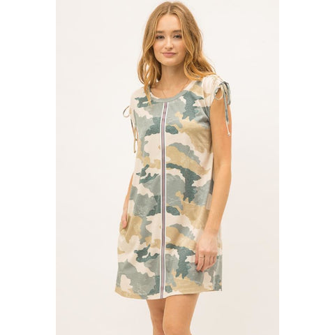 Camo Dress with Racing Stripes