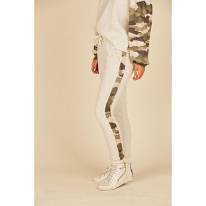 Fleece Jogger Pant in Heather Oatmeal with Camo Side Stripe