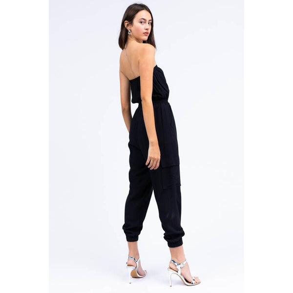 Strapless Jumpsuit with Cargo Pockets in Black