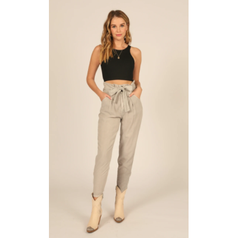 Taupe Hight Waisted Paper Bag Waistband Tencel Pants