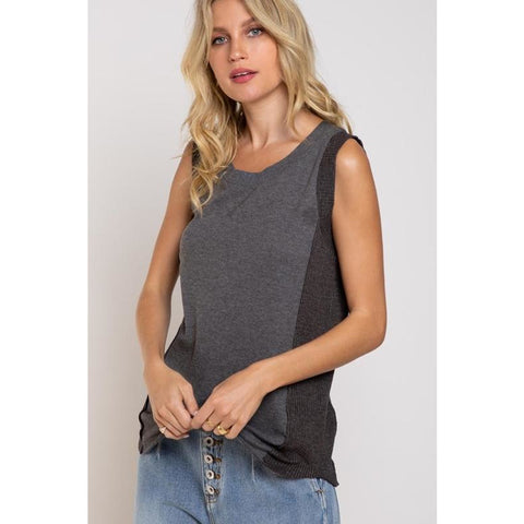 Sleeveless Thermal Top in Charcoal