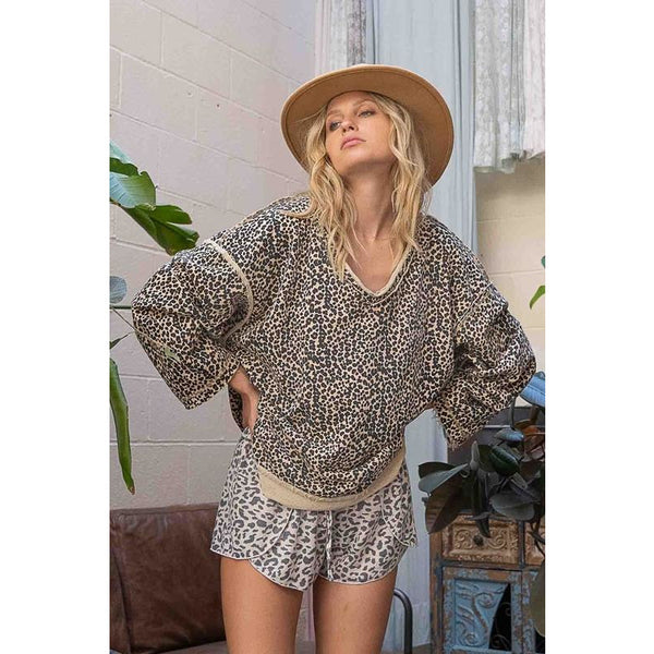 Reversible Leopard Top Charcoal