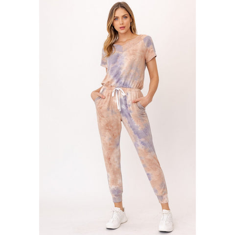 Muted Lavender and Taupe Tie Dye Jumpsuit