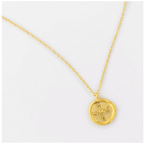 Gold Compass Seal Necklace