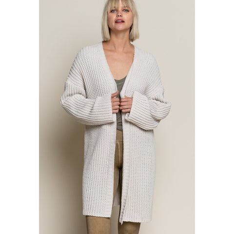 Open Front Chenille Cardigan in Cream