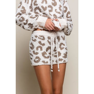 Cream and Olive Leopard Knit Shorts