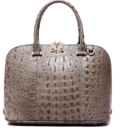 Carlie Vegan Crocodile Dual Handle Tote/Crossbody in Taupe Grey