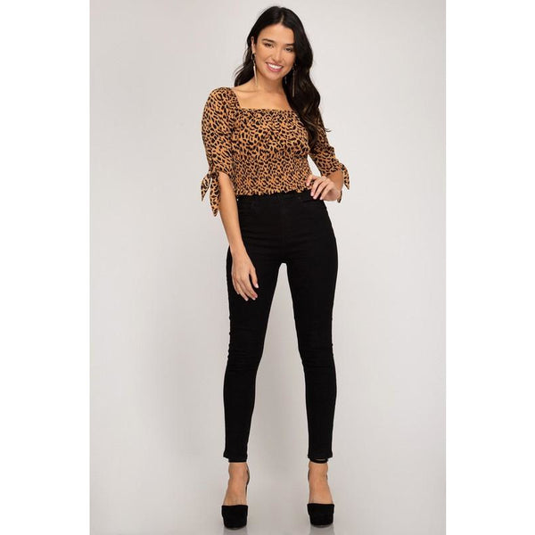 Leopard Print Smocked Crop Top