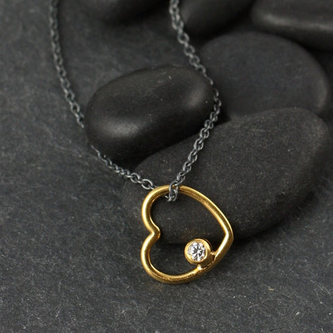 Simply Hearts w CZ Necklace