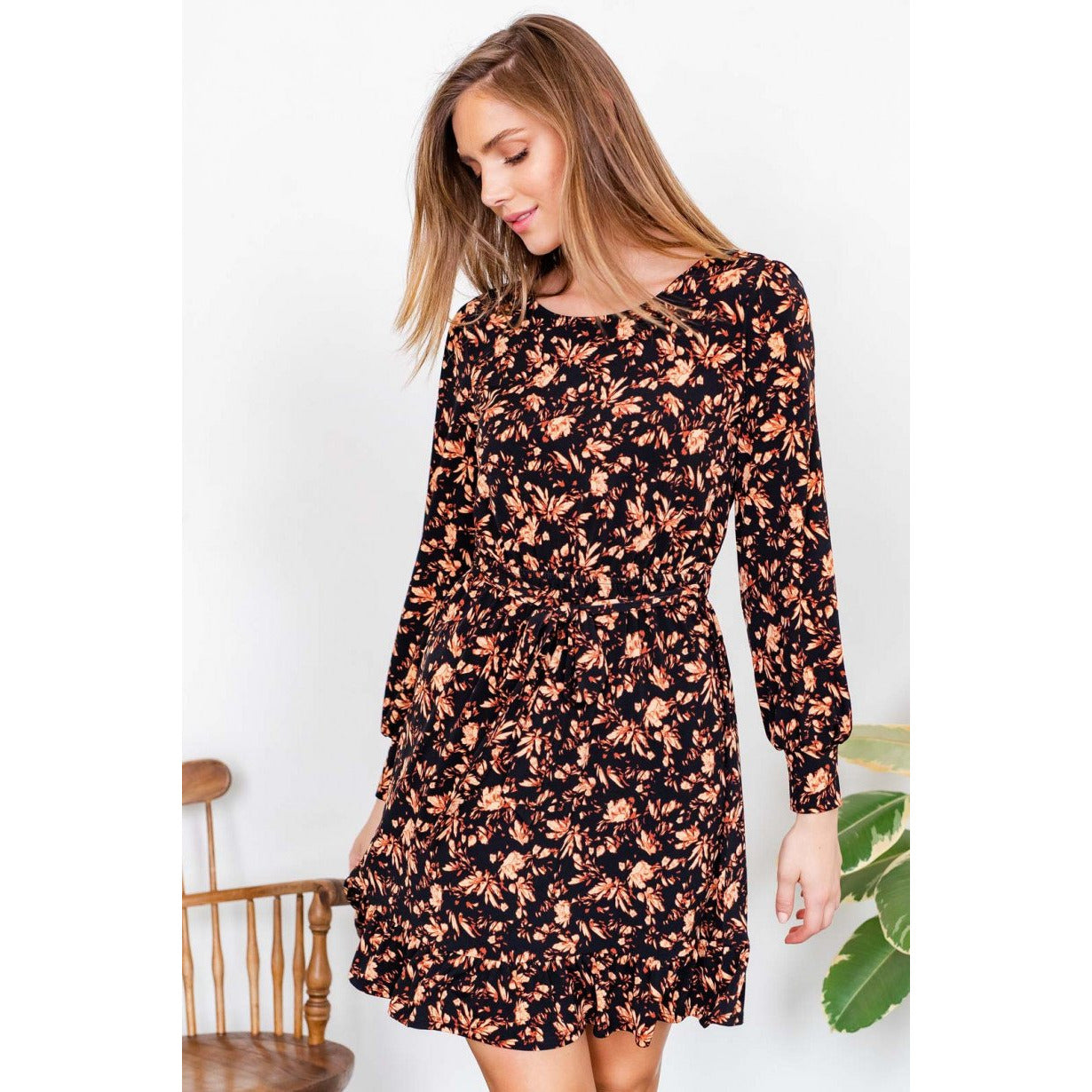 Long Sleeve Black Mini Dress with Peach Floral Print