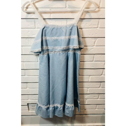 Light Denim Dress with White Lace