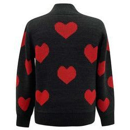 Heart Print Mock Neckline Sweater