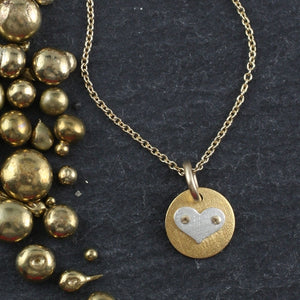 Mini Disc and Heart Necklace