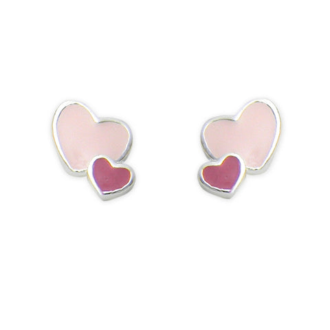 Sterling Silver Double Heart Stud Earring