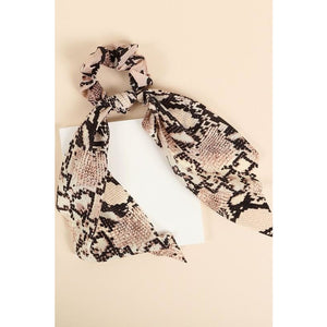 Bandana Python Print Scarf with Detachable Scrunchie