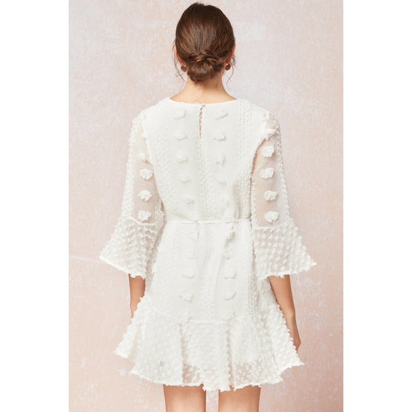 3D Flower Dress in White