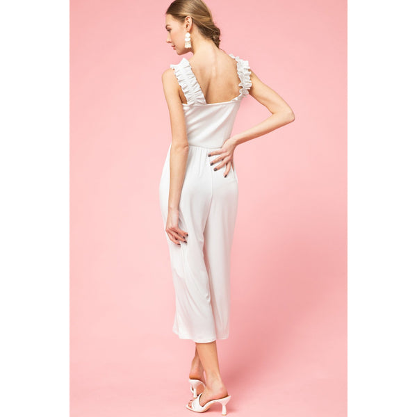 Jumpsuit with Ribbed Tank Top in White