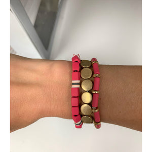Fuchsia and Gold Beaded Bracelet Set
