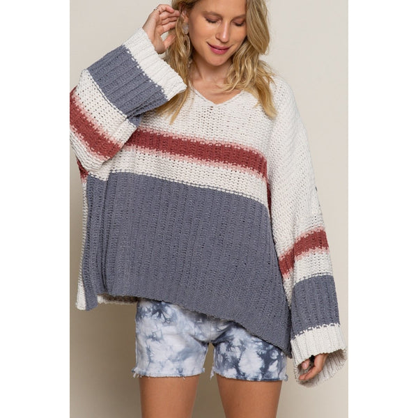 Ginger Rose Multi Striped Chenille Sweater