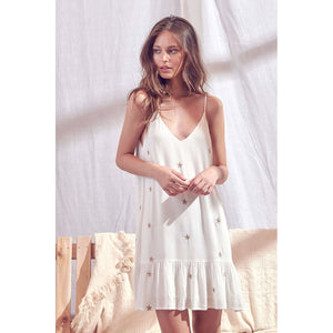 White Trapeze Swing Dress with Metallic Gold Stars