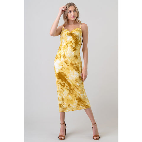 Cowl Neck Garment Midi Dress in Mustard
