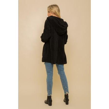 Fur Open Jacket with Hood
