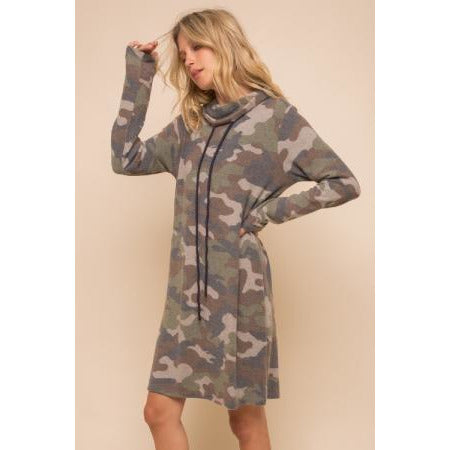 Brushed Camo Print Cowl Neck Dress