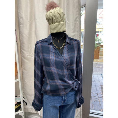 Midnight Plaid Wrap Shirt with Raw Edge Detail