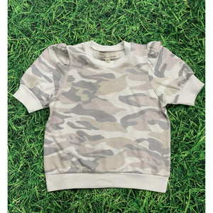 Soft Lilac Camo French Terry Short Sleeve Top